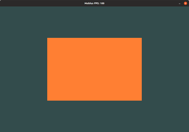 A screenshot displaying a single orange square on the screen